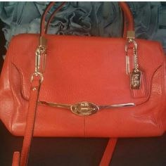 ***SOLD***Burnt Orange Coach Purse Gorgeous used burnt orange Crossbody/Shoulder purse with shiny gold hardware. Very chic and classy. Comes with dust bag. Coach Bags Shoulder Bags