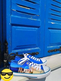 Casual high quality canvas shoes with famous destinations from around the world. Santorini Greece, Live For Yourself, Greek, Around The Worlds, Island, Holidays, Canvas, Amazing, Beach