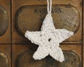 Crocheted Stars 2.5 Inch Green Twist Cotton  - Ornaments - Scrapbooking - Card Making - Applique - Christmas Trim  -  Set of 6. $7.00, via Etsy.