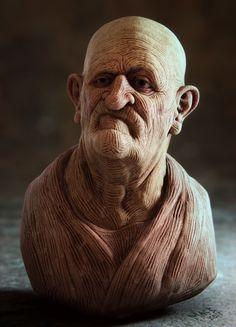 Old Man Da Vinci - Inspired by Da Vinci's old men drawings. Modeled in Sculptris / Zbrush rendered in Lightwave 3D