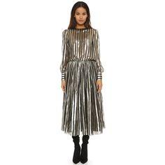 Jill Stuart Bambi Dress ($680) ❤ liked on Polyvore featuring dresses, long dresses, long maxi dresses, long sleeve dresses, ruched maxi dress and maxi dress