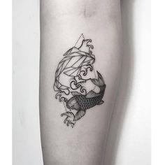 Koi and geometric koi fish tattoo