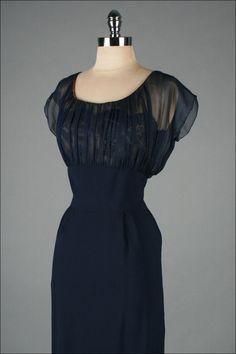 1stdibs | Vintage 1950's Terry Allen Deep Blue Illusion Cocktail Dress