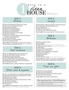 Printable checklist - 1 week schedule to a clean and organized house in 1 hour a. Printable checklist - 1 week schedule to a clean and organized house in 1 hour a day Deep Cleaning Tips, Cleaning Solutions, Cleaning Hacks, Diy Hacks, Daily Cleaning, Household Cleaning Schedule, Household Tips, Weekly Cleaning Charts, Spring Cleaning Tips