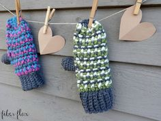The Sleigh Ride Mittens are lofty, colorful and quick to work up. Chunky yarn in fun colors makes these mittens super warm too! The cuff is ribbed and the main part of the mitten is worked up in an