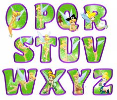 printable tinkerbell letters O-Z (green)