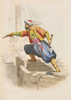 Dragut Reis, The famous Barbary cosair, prepares to board an enemy vessel in search of loot. A. CATEL
