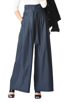 5e5394bcfab I  lt 3 this Pleated paperbag waist cotton chambray palazzo pants from  eShakti Ankle Pants