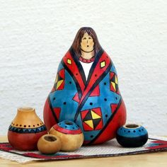 Gourd Woman with Pots by GourdArtbyCyndee on Etsy