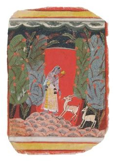 A painting from a Ragamala: Todi Ragini. Opaque pigment on wasli heightened wth gold, India, Malwa, ca. 1660, A Maiden carrying a vina standing on a hill and holding her hand out to a stag, with a deer shyly observing, against a vibrant red background with blue and green trees on either side and a dark sky with cloud band above.