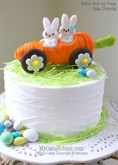 Rollin & my Peeps! ~ Carrot Car Cake Topper Tutorial - Spring and Easter Themed Cakes and Desserts! Fondant Flower Cake, Fondant Cakes, Cupcake Cakes, Fondant Bow, 3d Cakes, Fondant Figures, Flower Cakes, Easter Bunny Cake, Easter Treats