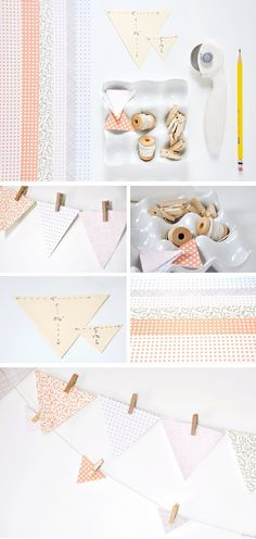 Easy paper bunting  The Odessa May Society suggests us to share this lovely tutorial where you will not need more than a few sheets of nice paper of your choice, scissors or a rotary cutter, a triangle template, several mini wooden pins or paper clips, twine or ribbon and a pencil, to create this divine garland that you can put anywhere, just for the pleasure of admiring it.