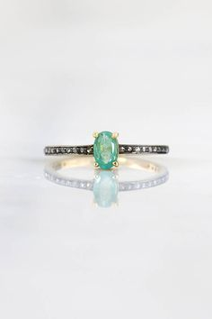 $98 Genuine Emerald ring, Delicate Emerald ring, Diamond and Emerald ring, Micro Pave Diamond ring, Natural Emerald,Green emerald Stackable ring etsy Natural Emerald, Emerald Green, Diamond Gemstone, Diamond Rings, Genuine Emerald Rings, Everyday Rings, Oval Rings, Delicate Rings, Stackable Rings