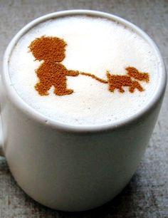 .·:*¨¨*:·.Coffee ♥ Art.·:*¨¨*:·. Child walking a dog latte art