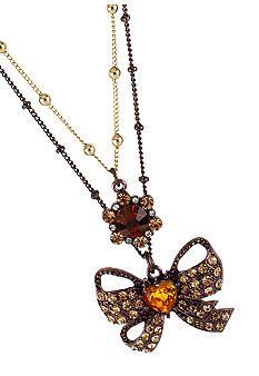 Betsey Johnson Jewelry - Bow 2 Row Necklace - Belk