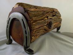 Cedar Jewelry Box Or Trinket Box Out Of Old Fence Post With Horse Shoe Legs…