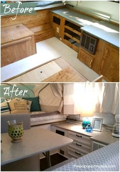 Hollie's Pop Up Camper Makeover - The Pop Up Princess.  Amazing transformation!  I'm loving that color scheme.