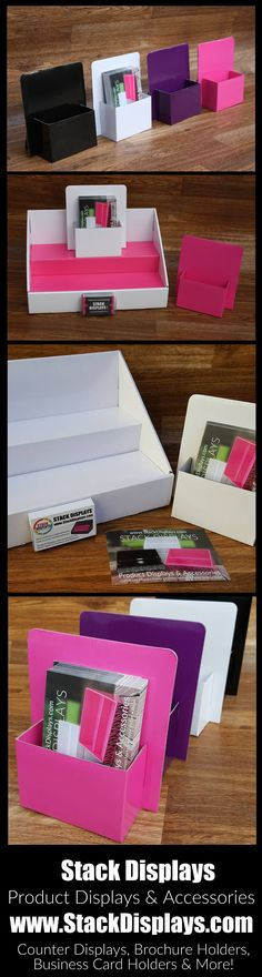 Brochure Holders from Stack Displays - Use at vendor events, craft shows or in your home office to stay organized! Available in our convenient 2 pack! Brochure holders are available in 4 colors. Pink, Purple, Black and White.