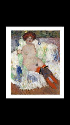 Pablo Picasso - Nu aux bas rouges, 1901 - Huile sur toile - 66,5 x 52 cm - Lyon, Musée des beaux-arts