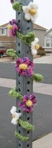 Stop sign yarn bombing