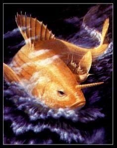 "The original ""Noah's ark"", protected by Lord Matsya, the fish incarnation of Vishnu."""