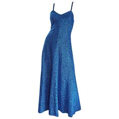 1970s Electric Blue Metallic Vintage Sleeveless Disco Maxi Dress / Gown | From a collection of rare vintage day dresses at https://www.1stdibs.com/fashion/clothing/day-dresses/