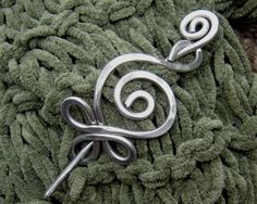 Celtic Budding Spiral Aluminum Shawl Pin, Scarf Pin, Sweater Brooch, Fastener - Hammered Celtic Knitting Accessory