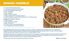 Banana Crumble & Angostura Butter Sauce made with Angostura bitters #recipes