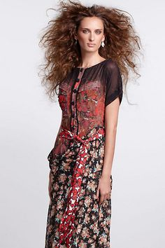 Hip Swag Bell Dress - Anthropologie.com    More mixed use of fabrics