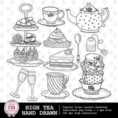High tea afternoon tea time teapot teacups cake handdrawn