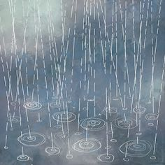 Rain Illustration. This would make a wonderful embroidery pattern!