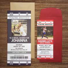 Get creative with custom sport themed Bridal Shower ticket invites! ⚾️