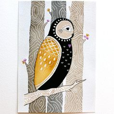 This is an Archival Print of my original illustration painting, Little Love Owl Maho    Maho is a Little Love Owl. His heart was made for Coki, and
