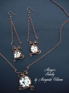 Owl set of copper wire and natural stone by MargosGlow