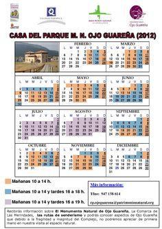 Horario de la Casa del Parque de Ojo Guareña. Otoño 2012