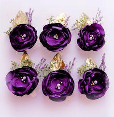Wedding Boutonniere Purple Flower Boutonniere Groom Boutonniere Keepsake…