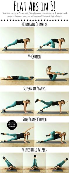 Tone up in 5 minutes with this quick and efficient ab workout! - Flat Abs in 5…