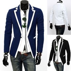 New Fashion Men's Slim Fit Stylish Casual Suit Coat Jacket Blazers #New #OneButton
