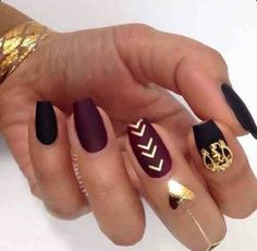 Matte Wine Red & Black Square Tip Acrylic Nails w/ Gold Adherent Designs