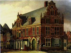 De Nijmeegse waag, 1840 City Painting, Old City, Modern Architecture, Big Ben, Amsterdam, Dutch, Past, Old Things, England
