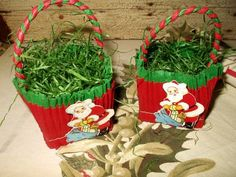 2 Vintage 1950s Crepe Paper Santa Nut Cups - Antique Vintage Christmas Easter Halloween Holiday Historical Souvenir - The Gatherings Antique Vintage