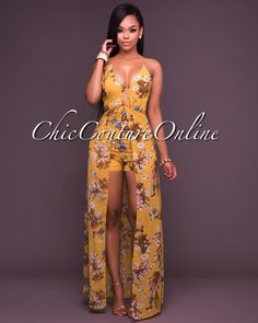e3ed677bcda5 Chic Couture Online - Iona Deep V Neck Mustard Floral Romper Maxi Dress