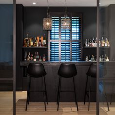 Home Bar Interior Bar Interior Design, Interior Styling, Oak Cladding, Basement Layout, Basement Ideas, Construction, Cafe Bar, Elle Decor, Bars For Home