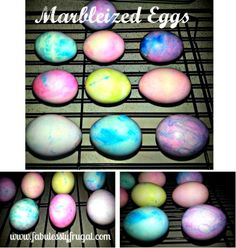 Using Cool Whip instead of shaving cream!  Marbleized Easter Eggs Instead of dying your eggs, make them fancy with Shaving Cream and Food Coloring from your Stockpile!  http://fabulesslyfrugal.com/2013/03/marbleized-easter-eggs.html - Use cool whip instead so you can still eat them =]