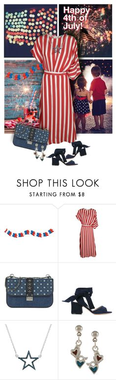 """4th of July Party Outfit"" by valeria-meira ❤ liked on Polyvore featuring MSGM, Valentino, Gianvito Rossi, Southwest Moon, DenimDress, stripeddress, fourthofjuly and DenimSandals"