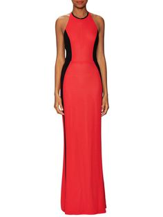 Halter Gown with Contrast Side Panels by ABS by Allen Schwartz at Gilt