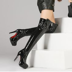 Plus size 34-48 women boots patent leather over the knee , BDSM SUPPLY, BDSM SUPPLY - BDSM SUPPLY