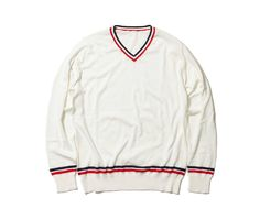 uniform experiment TURFAN COTTON TRICOLORE LINE V NECK KNIT