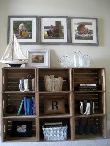 Stacked Crates for shelving.  Can be used in any room of the house