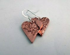 Copper Heart Earrings Floral Copper Earrings by ShineOnShopUK
